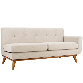 Engage Right-Arm Upholstered Fabric Loveseat (Beige)