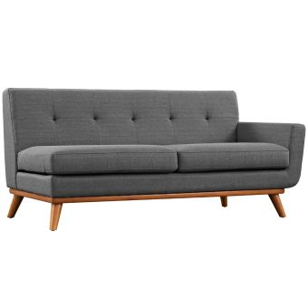Engage Right-Arm Upholstered Fabric Loveseat (Gray)