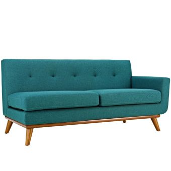 Engage Right-Arm Upholstered Fabric Loveseat (Teal)