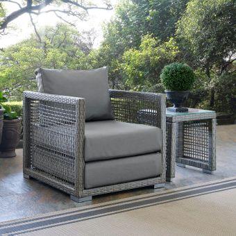 Aura Rattan Outdoor Patio Armchair in Gray
