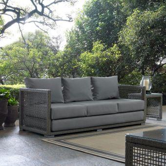 ✅ Aura Outdoor Patio Wicker Rattan Sofa in Gray   VivaSalotti.com   pic8