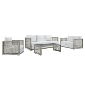 ✅ Aura 4 Piece Outdoor Patio Wicker Rattan Set in Gray White   VivaSalotti.com   pic13