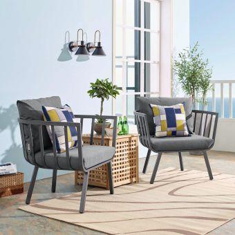 Riverside Outdoor Patio Aluminum Armchair Set of 2 in Gray Charcoal