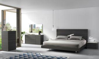 ✅ Faro Premium Wood Veneer Platform Bedroom Set, Wenge | VivaSalotti.com | pic1