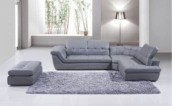 ✅ 397 Italian Leather Sectional Right Hand Facing in Grey | VivaSalotti.com | pic1