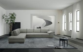 ✅ 625 Italian Leather Sectional Grey in Left Hand Facing    VivaSalotti.com   pic1
