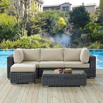 ✅ Summon 5 Piece Outdoor Patio Sunbrella® Sectional Set   VivaSalotti.com   pic
