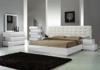 ✅ Milan Modern Leatherette Platform Bedroom Set, White   VivaSalotti.com   pic