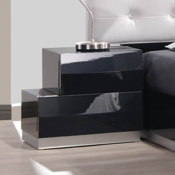 Milan Modern Lacquer Left Nightstand, Black Lacquer
