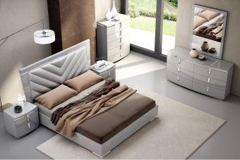 ✅ New York Modern Upholstered/Glossy Panel Bedroom Set, Grey | VivaSalotti.com | pic2