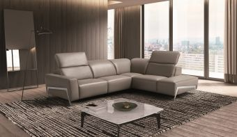 ✅ Ocean Grey Leather Sectional Right Hand Facing | VivaSalotti.com | pic