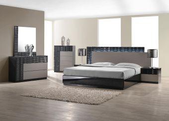 ✅ Roma Modern Lacquer LED Platform Bedroom Set, Black/Grey Lacquer | VivaSalotti.com | pic1