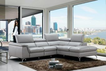 ✅ Viola Premium Leather Sectional in Right Hand Facing Chaise | VivaSalotti.com | pic3