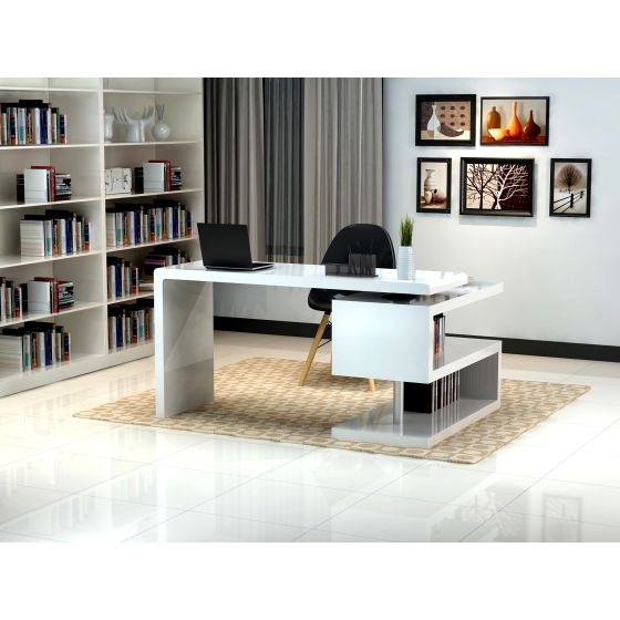 ✅ A33 Modern Lacquer Office Desk, White | VivaSalotti.com | pic1