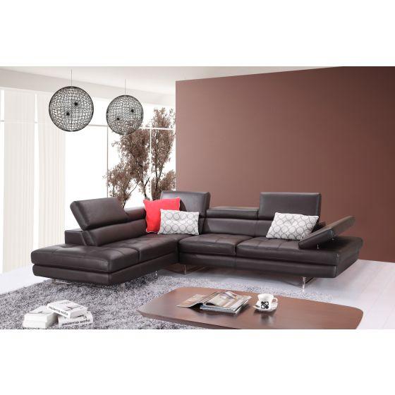 ✅ A761 Italian Leather Sectional, Left Hand Facing, Coffee   VivaSalotti.com   pic2