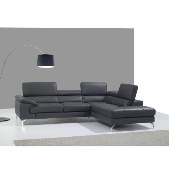 ✅ A973 Premium Leather Sectional, Right Hand Facing, Grey   VivaSalotti.com   pic2