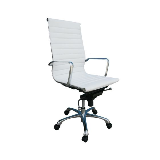 ✅ Comfy High Back Adjustable Leather Swivel Office Chair, White   VivaSalotti.com   pic2