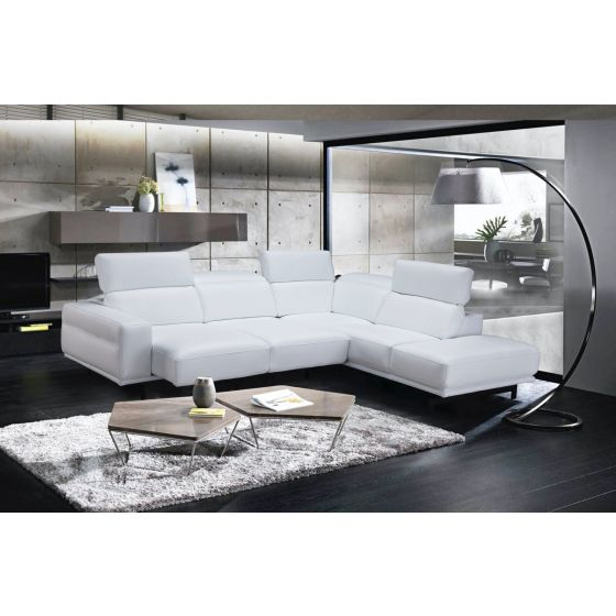 ✅ Davenport Leather Sectional in Right Facing, Snow White   VivaSalotti.com   pic5