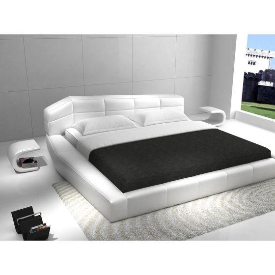 ✅ Dream Modern Leather Queen Size Platform Bed, White | VivaSalotti.com | pic