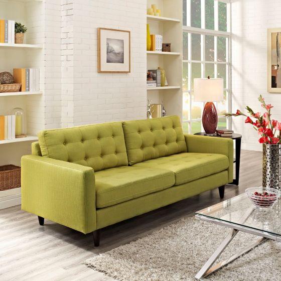 ✅ Empress Upholstered Fabric Sofa (Wheatgrass)   VivaSalotti.com   pic