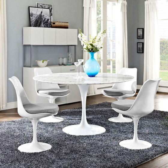 "✅ Lippa 54"" Round Artificial Marble Dining Table (White)   VivaSalotti.com   pic"