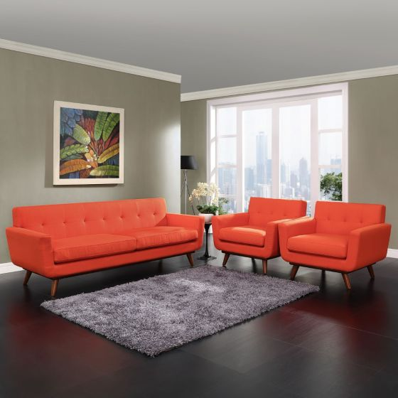✅ Engage Armchairs and Sofa Set of 3 (Atomic Red)   VivaSalotti.com   pic