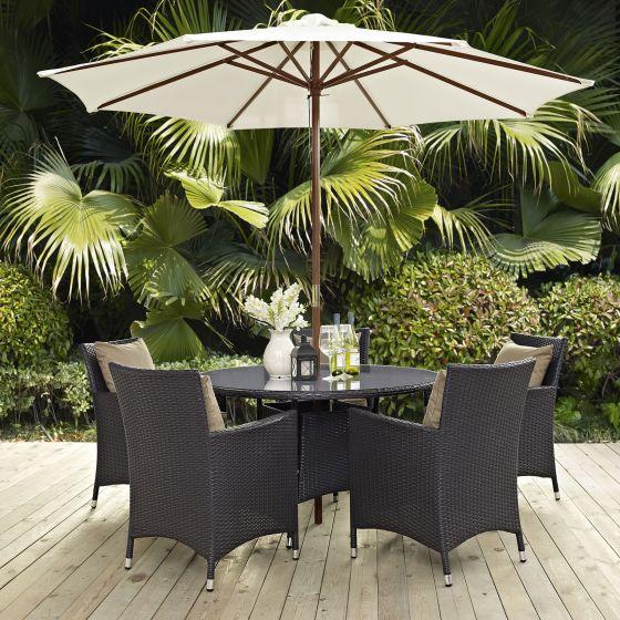 ✅ Convene 2 Piece Outdoor Patio Dining Set in Espresso White   VivaSalotti.com   pic