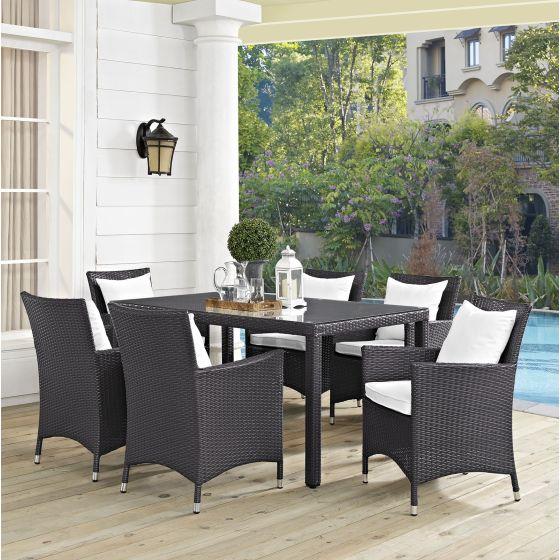 ✅ Convene 7 Piece Outdoor Patio Dining Set in Espresso White | VivaSalotti.com | pic