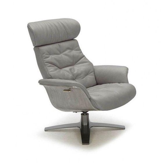 ✅ Karma Italian Leather Premium Chair, Grey | VivaSalotti.com | pic