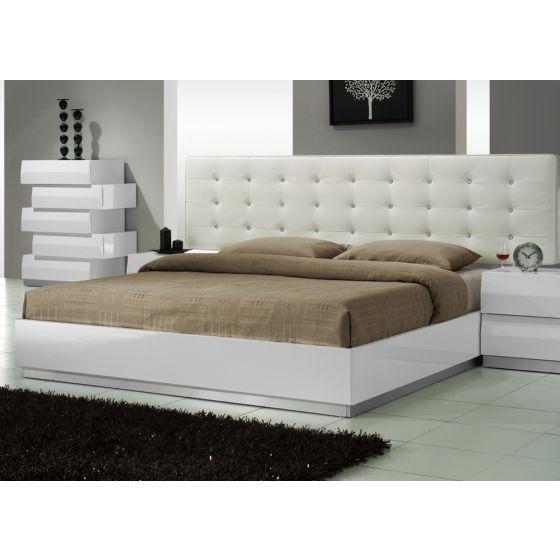 ✅ Milan Modern Leatherette King Size Platform Bed, White Lacquer   VivaSalotti.com   pic