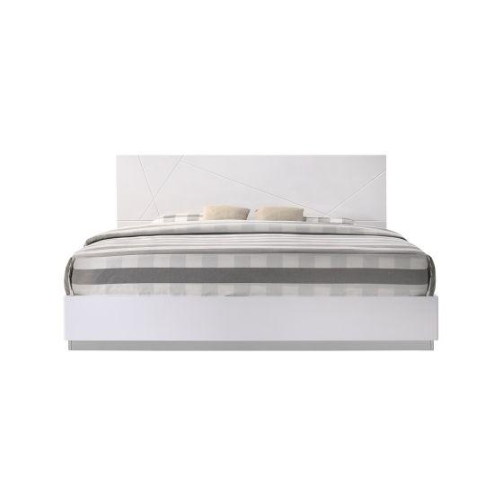 ✅ Naples Modern Lacquer Twin Size Platform Bed, White Lacquer | VivaSalotti.com | pic
