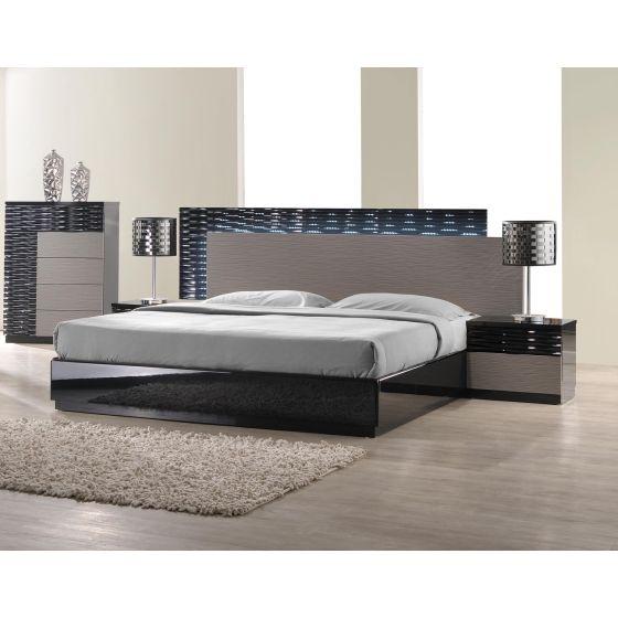 ✅ Roma Modern Lacquer LED Queen Size Platform Bed, Black/Grey Lacquer | VivaSalotti.com | pic1