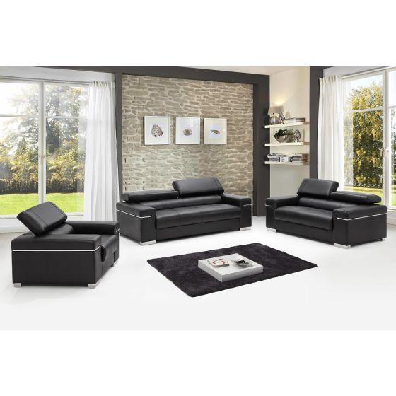 ✅ Soho Leather Sofa Set, Black | VivaSalotti.com | pic
