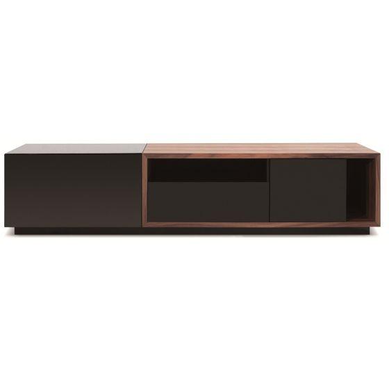 "✅ TV047 Modern TV Stand for TVs up to 74"", Black High Gloss/Walnut | VivaSalotti.com | pic"
