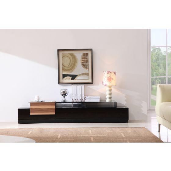 "✅ Modern TV072 TV Stand for TVs up to 71"", Black High Gloss/Walnut | VivaSalotti.com | pic2"