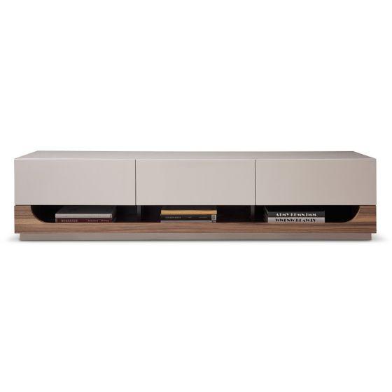 "✅ TV103 Modern TV Stand for TVs up to 70"", Walnut Veneery/Taupe High Gloss | VivaSalotti.com | pic1"