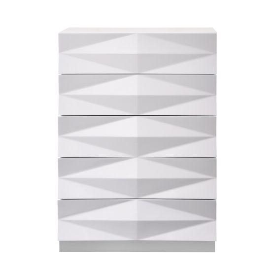 ✅ Verona Modern Lacquer 3D Chest, White Lacquer | VivaSalotti.com | pic