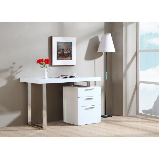 ✅ Vienna Modern Office Desk with Storage Drawers, White   VivaSalotti.com   pic1