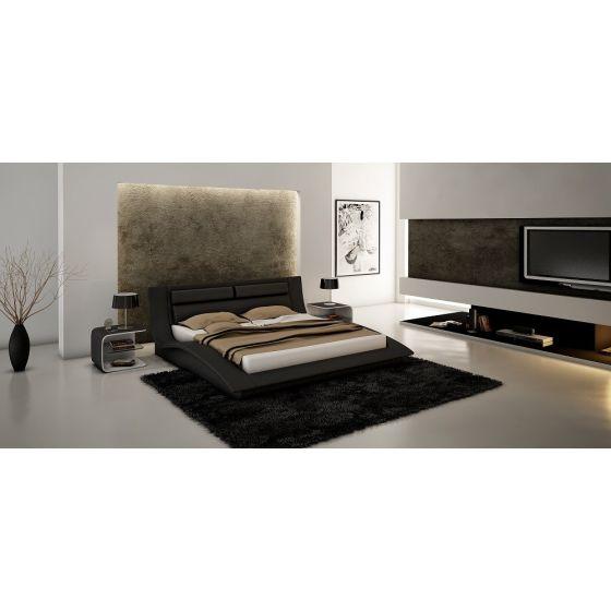 ✅ Wave Modern Leatherette King Size Platform Bed, Black   VivaSalotti.com   pic